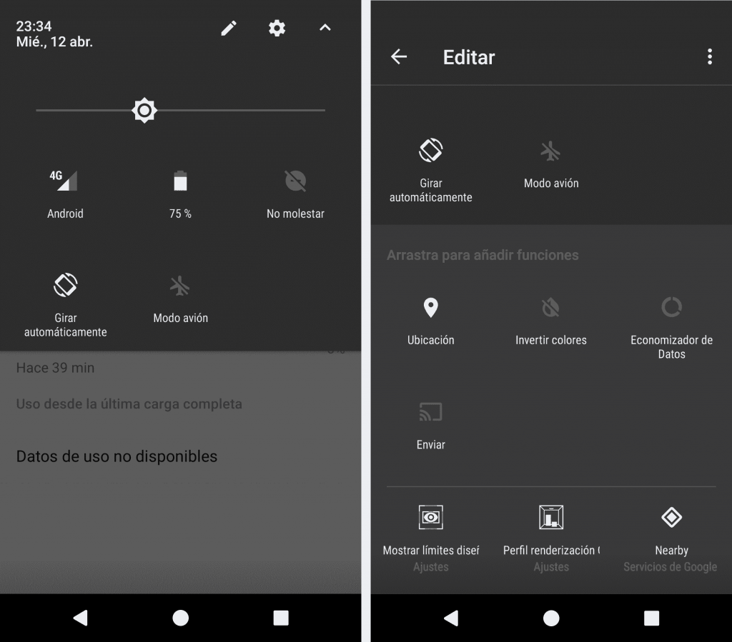 Toggles Android Nougat